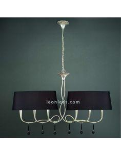 Lámpara de Techo Plateada Clásica para encima de la mesa del salón serie Paola de Mantra 3531 | LeonLeds