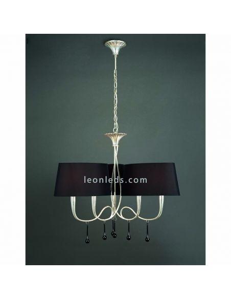 Lámpara de techo Clásica Plateada y Negra serie Paola de mantra 3530 | LeonLeds Iluminación