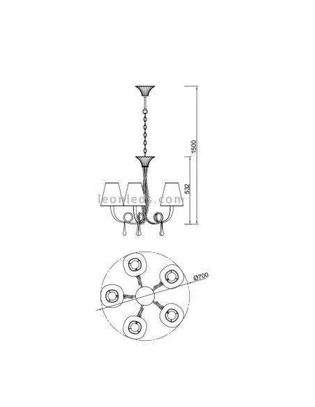 Dimensiones de Lámpara de Techo Clásica Paola de Mantra 6208 Plateada | LeonLeds Iluminación decorativa