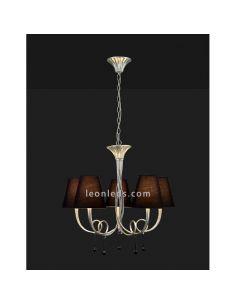 Lámpara de techo Clásica araña Plateada y Negra serie Paola de mantra 6208 | LeonLeds Iluminación