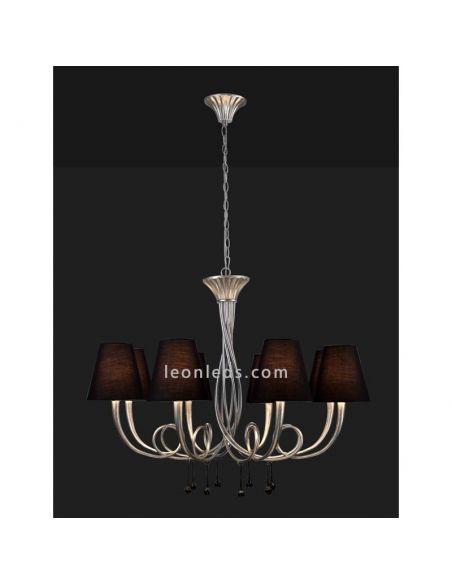 Lámpara de Techo Grande de araña serie Paola Plateada y Negra de la marca Mantra 6207   LeonLeds Iluminación