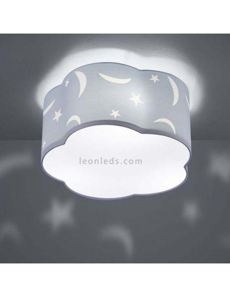 Plafón azul infantil de techo estrellas y lunas Moony | LeonLeds Iluminación
