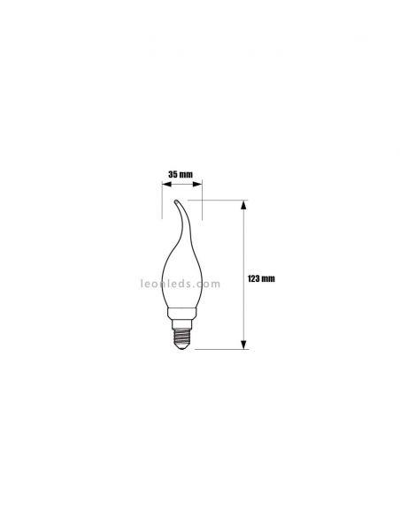 Dimensiones de Bombilla LEDVela GOLD BA35 de Philips | LeonLeds Iluminación