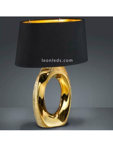 Lámpara de Sobremesa moderna grande de color Negra y Dorada serie Taba | LeonLeds Lámparas de Sobremesa