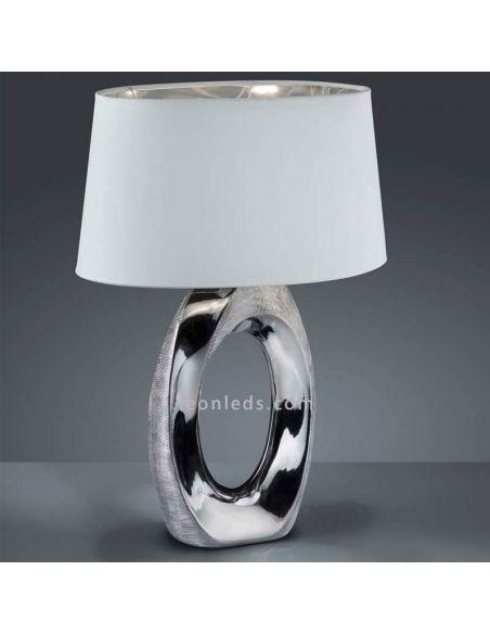 Lámpara de Sobremesa grande Blanca y Plata de la serie Taba de Trio Lighting | LeonLeds Lámparas modernas