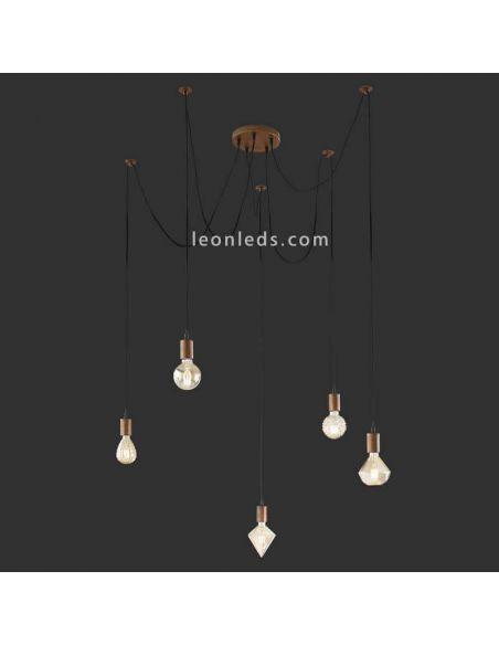 Lámpara de Techo Vintage con 5 brazos que cuelgan de color Cobre antiguo | LeonLeds Iluminación Decorativa