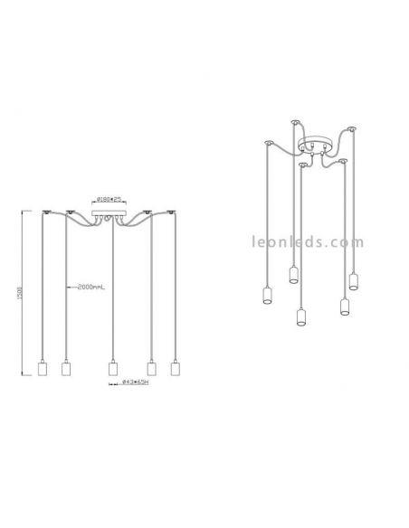 Dimensiones de Lámpara Vintage con 5 brazos que cuelgan de la serie Cord de trio Lighting | LeonLeds Iluminación