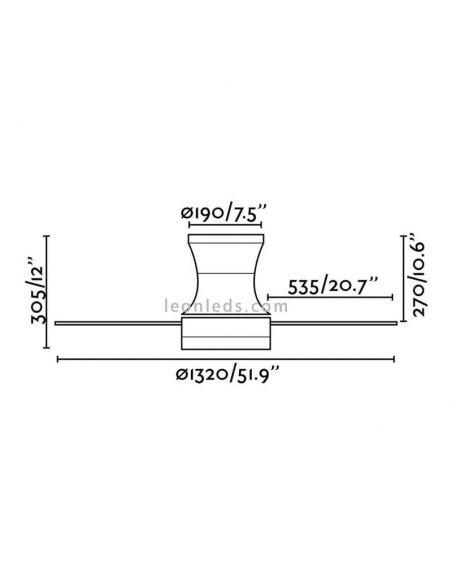 Dimensiones de Ventilador de techo Tonsay de Faro de Barcelona | LeonLeds Ventiladores de Techo