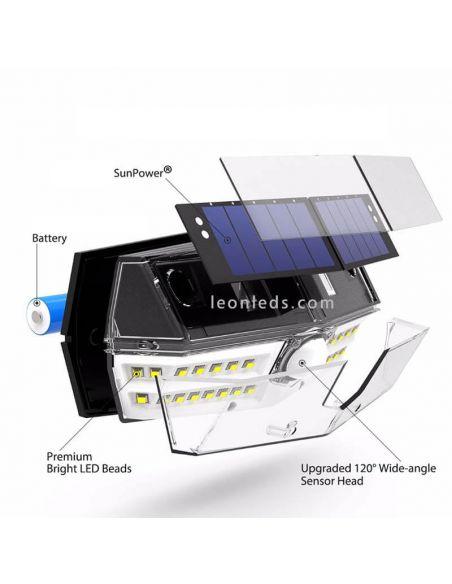 Aplique LED solar instalado en exterior con 30 leds | LeonLeds Iluminación exterior Solar