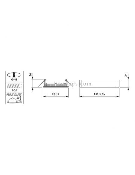 Dimensiones de Downlight LED redondo Philips Coreline SlimDownlight 9W | LeonLeds Downlight LED