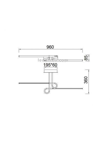 Dimensiones de Lámpara de Techo LED Cinto Cromada 6120 | LeonLeds Lámparas LED