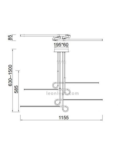 Dimensiones de Techo LED Cinto Cuero Satinado 6123 de Mantra   LeonLeds Lámpara de Techo LED