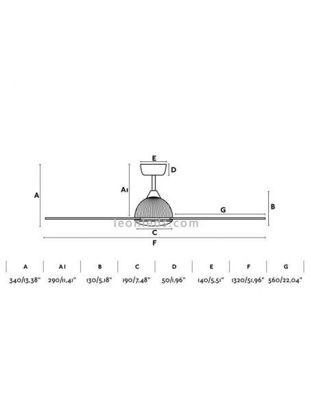 Dimensiones de Ventilador de techo LED Grid de Faro Barcelona | LeonLeds Iluminación LED
