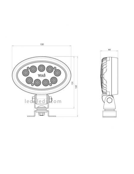 Dimensiones de Faro LED ovalado de trabajo Was | LeonLeds Faros LED