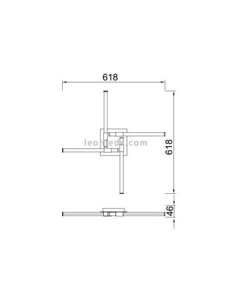 Dimensiones de Plafón LED moderno serie Ciento de Mantra 6131