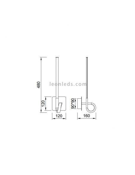Dimensiones de aplique de Pared LED Cinto Cuero Satinado de Mantra | LeonLeds