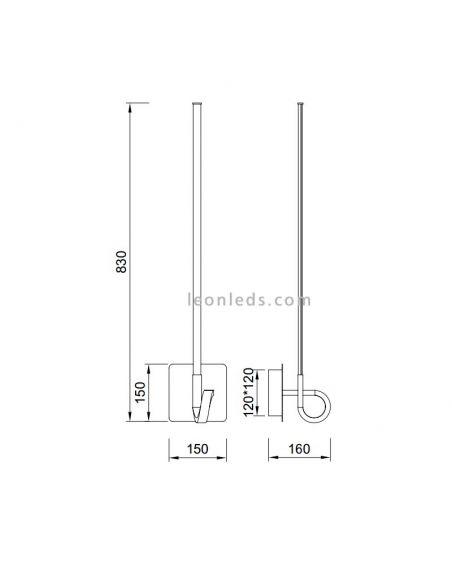Dimensiones de Aplique LED Cinto grande Cromado 6133