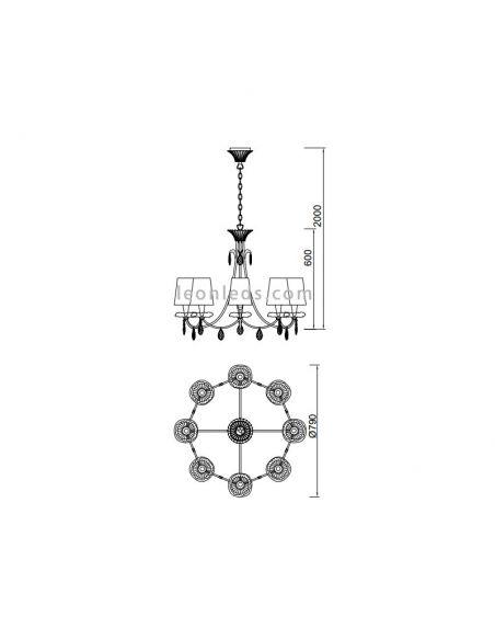 Dimensiones de Lámpara de Techo Clásica Sophie de Mantra | LeonLeds Lámparas de techo
