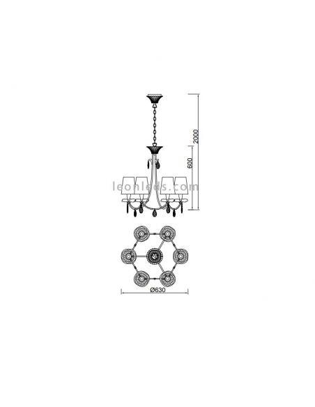 Dimensiones de Lámpara de techo Sophie de Mantra 6302
