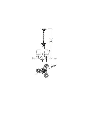 Dimensiones de Lámpara de techo Sophie de Mantra