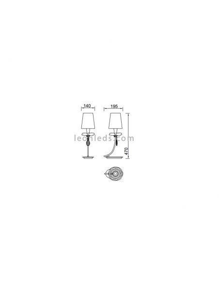 Dimensiones de Lámpara de Sobremesa serie Sophie de Mantra 6297