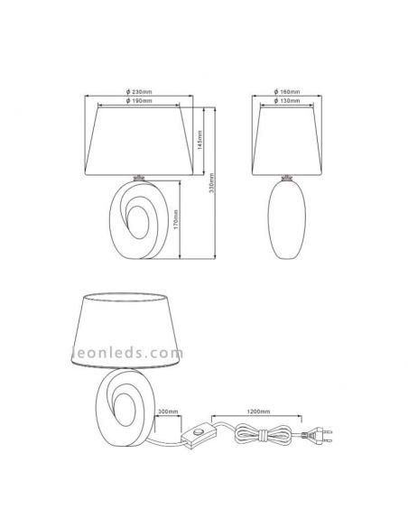 Dimensiones de Lámpara de sobremesa moderna serie Taba Dorada