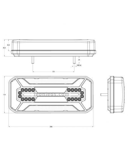 Dimensiones de Piloto LED trasero
