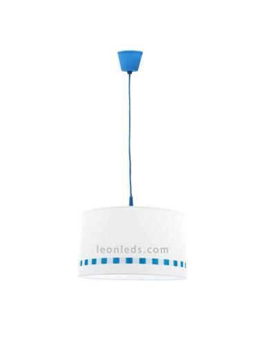 Lámpara de techo infantil serie Lacito blanca y azul