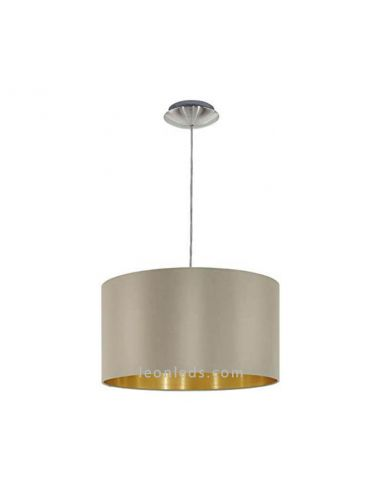 Lámpara de techo de diseño moderno con una pantalla textil marrón y dorada