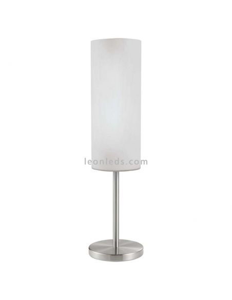 Lámpara de sobremesa blanca y cromada serie Troy 3 de eglo | LeonLeds Lámpara de sobremesa