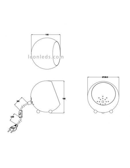 Dimensiones de Lámpara de sobremesa redonda Billy moderna de Trio Lighting