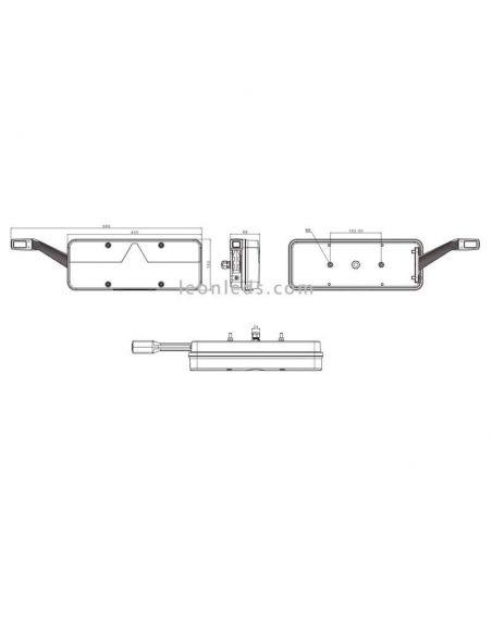 Dimensiones de Piloto trasero LED Fristom FT500 con cuerno