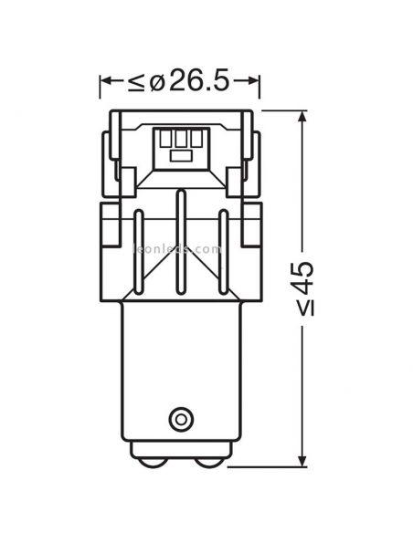 Bombillas Osram P21W/5W 6000K 12V 2W/0,4W de 2 Polos (2Uds) Standard LED   LeonLeds Iluminación