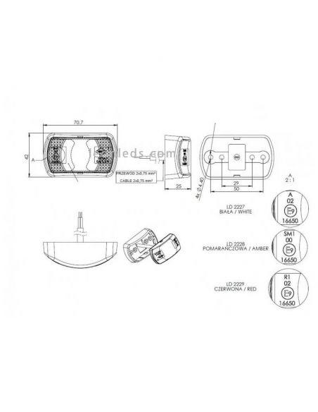 Dimensiones de Piloto LED galibo Horpol