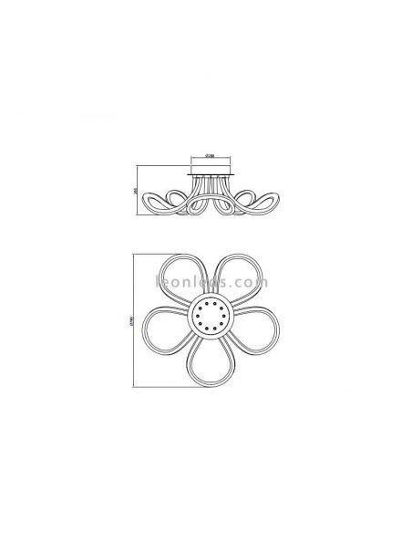 Dimensiones de Plafon LED redondo de Mantra serie Knot Lien 6615