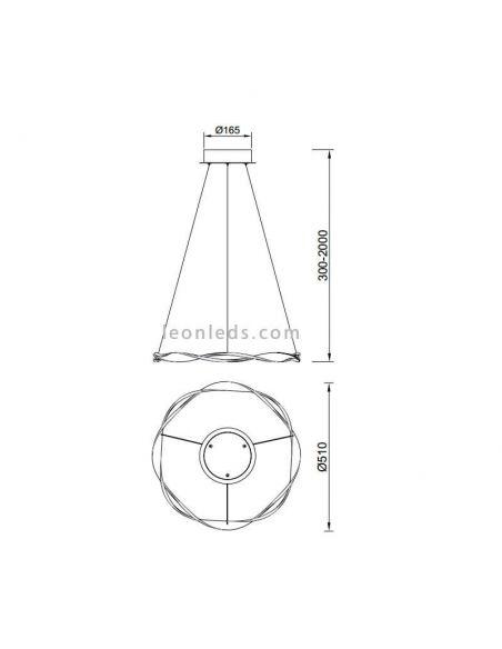 Dimensiones de Lámpara de techo LED 6571 de Mantra