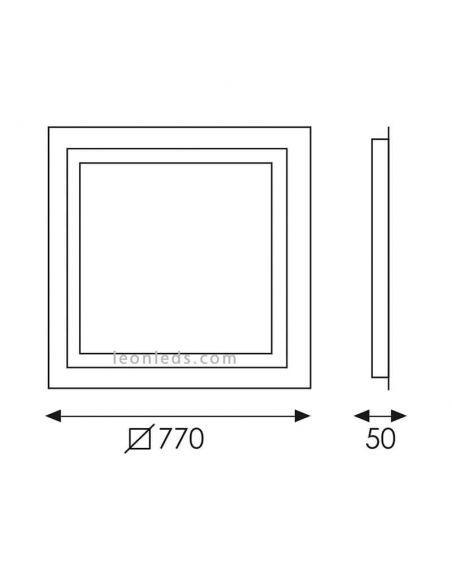 Dimensiones de Espejo LED cuadrado serie Mul de ACB
