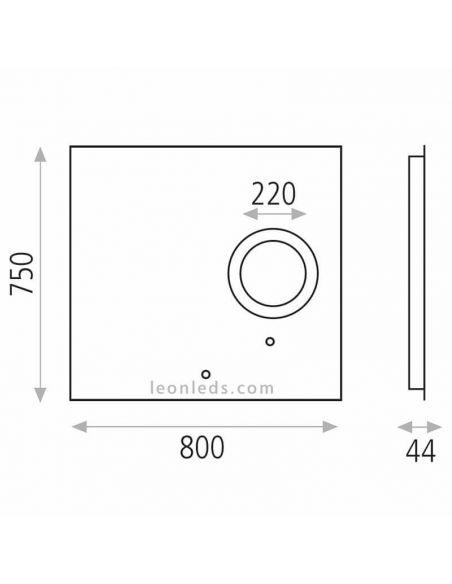 Dimensiones de Espejo LED Olivia | LeonLEDS Iluminación LED