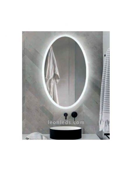 Espejo LED Ovalado con boton táctil y ovalado modelo Elma de Acb | LeonLeds Espejos LED
