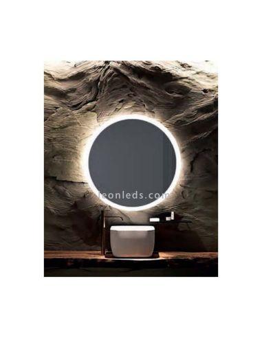 Espejo LED redondo con Luz LED y botón tactil serie Petra | LeonLeds Espejos LED