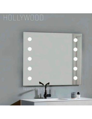 Espejo para baño con luz led modelo Hollywood de Acb Iluminación | LeonLeds Espejos LED