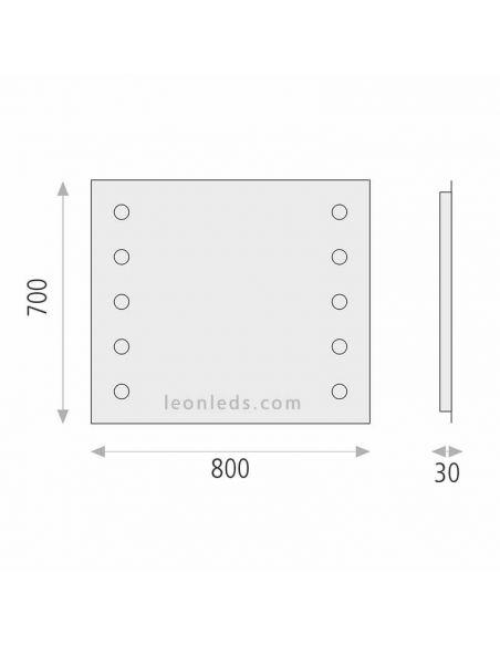 Dimensiones de espejo LED Hollywood de Acb Iluminación | LeonLeds Espejos LED