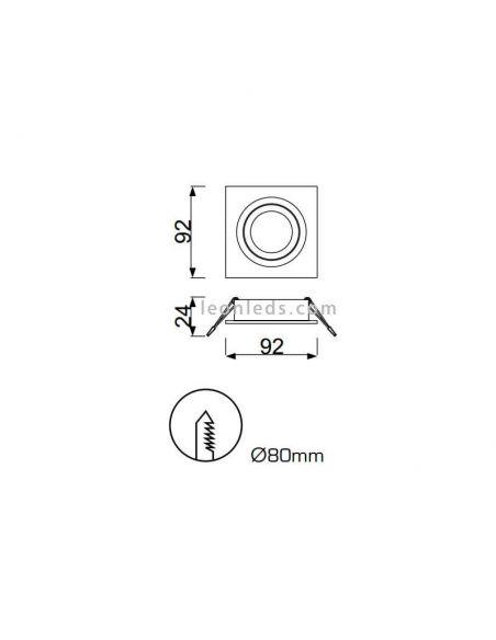 Dimensiones de Aro Empotrable cuadrado de corte redondo | LeonLeds Aros Empotrables C