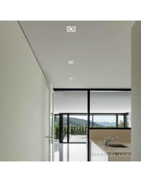 Aro empotrable Cuadrado instalado el techo | LeonLeds Aro Empotrable