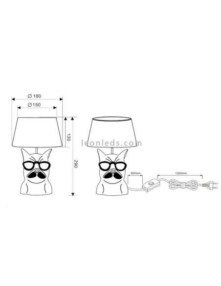 Dimensiones de Lámpara de sobremesa Dosy de Trio Lighting   LeonLeds Lámparas de sobremesa