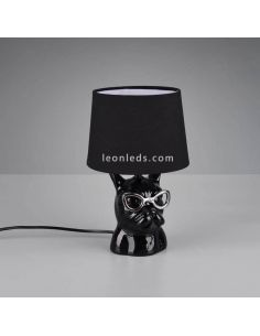 Lámpara de sobremesa negra con cara de perro con gafas serie Dosy de Trio Lighting | LeonLeds Lámparas de sobremesa