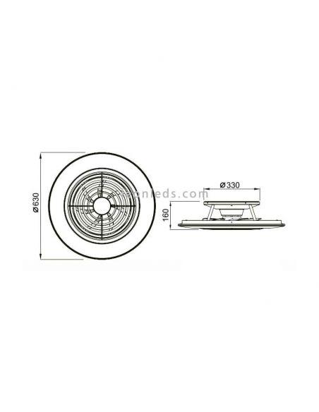 Dimensiones de Ventilador de Techo LED Alisio de Mantra 6705 | LeonLeds Ventiladores LED