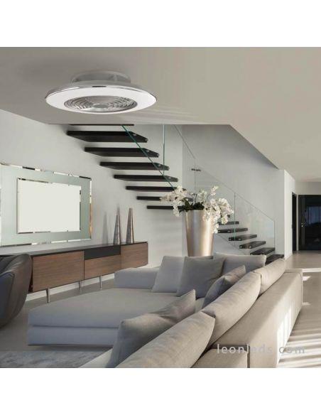 Ventilador de Techo con luz LED cromado con mando a distancia serie Alisio de Mantra | Ventiladores de techo LED LeonLeds