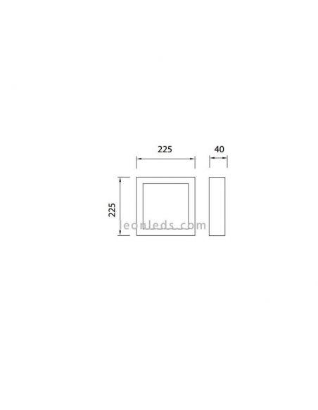 Dimensiones de Plafón LED cuadrado 24W serie Saona de Mantra | LeonLeds Plafones LED