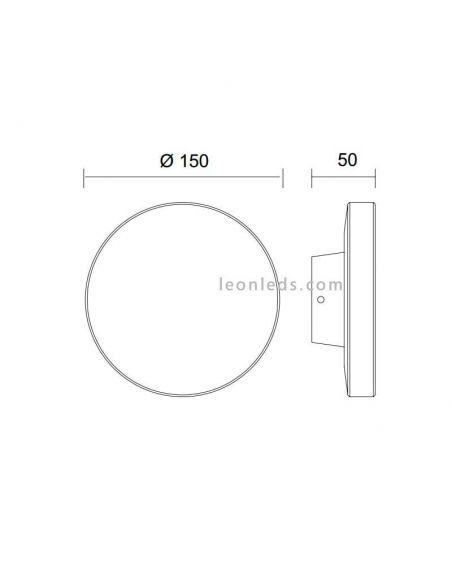 Dimensiones de Aplique LED redondo  modelo Bora de mantra | LeonLeds Apliques de exterior LED